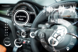 Smart car (HUD) concept. Empty cockpit in vehicle and Self-Driving mode car graphic screen