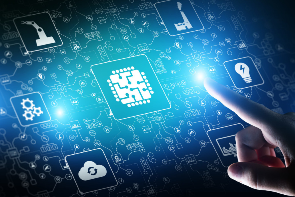 Microchip, artificial intelligence, automation and internet of things, IOT, Digital integration. Business internet and technology concept.