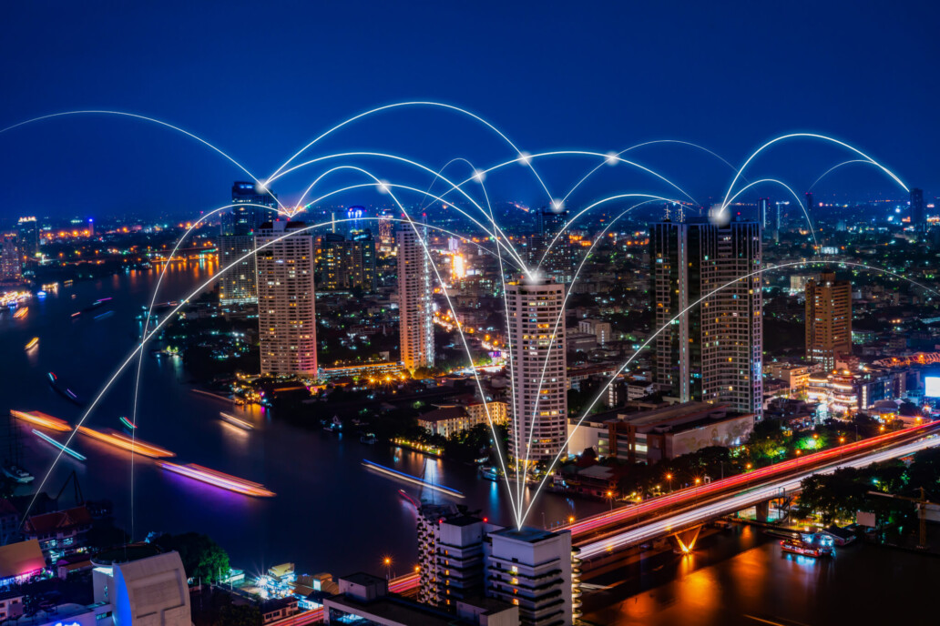 5G and 6G network digital hologram and internet of things on city background.5G and 6G network wireless systems